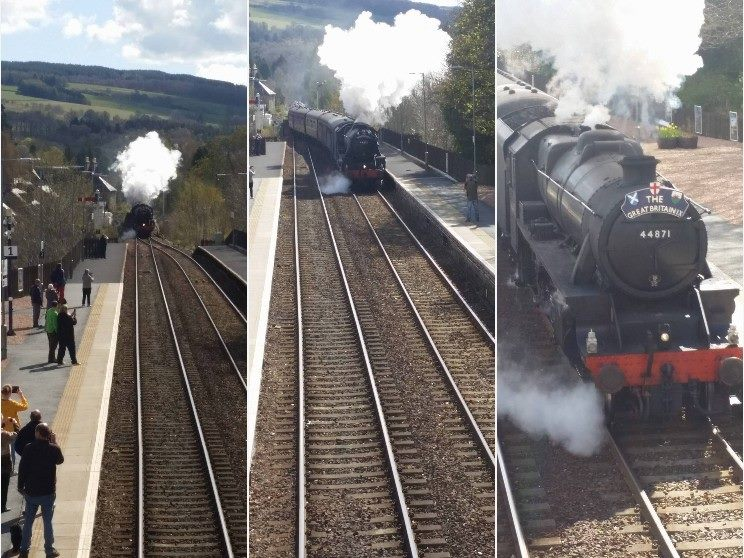 Pitlochry Station - The Great Britain comes hurtling by