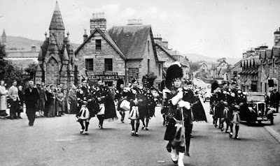 Pipe Band Main Street Pitlochry Perthshire Scotland
